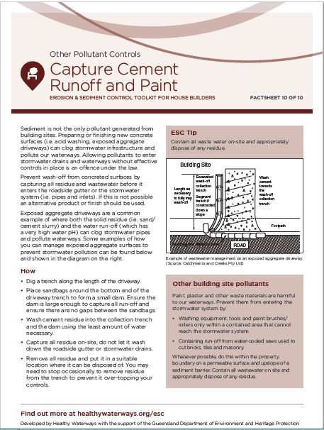 ESC Factsheet #10 Capture Cement Runoff