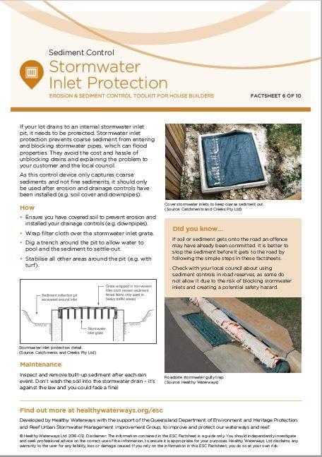ESC Factsheet #6 Stormwater Inlet
